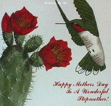 image of humming bird with text...Happy Mothers Day To A Wonderful StepMother