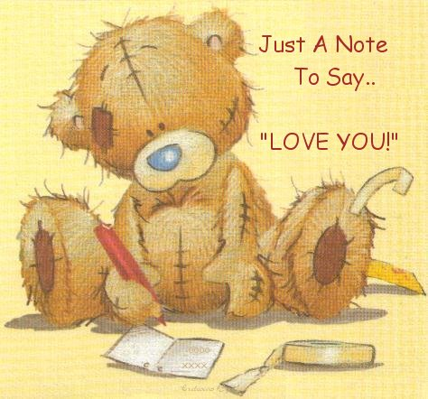 Image of tatty teddy writing a note here