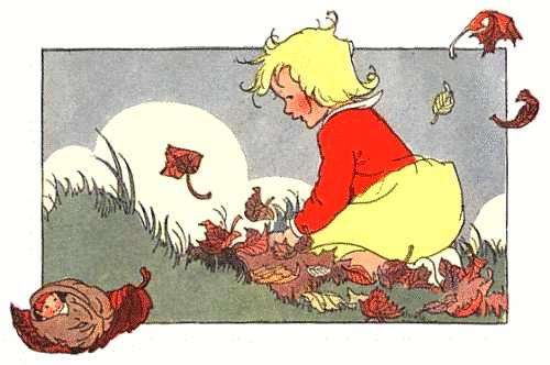 image of young girl and autumn leaves here