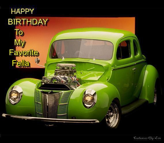 Image of show car with Happy Birthday text here