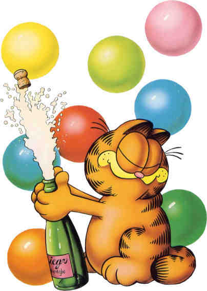 images of Garfield opening a bottle of champagne