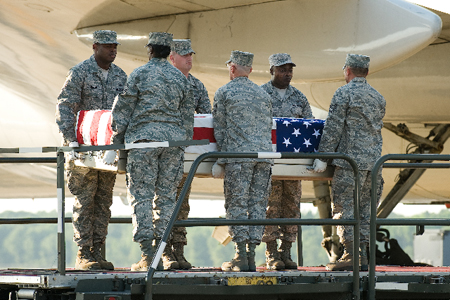 This is an image of our fallen hero, Benjamin D White. coming home to Erwin TN USA